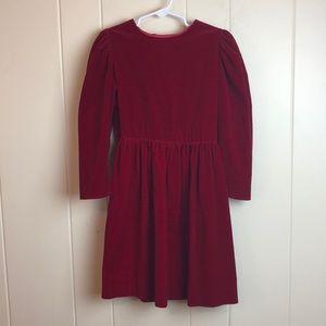 Vintage 70s/80s Girls Red Velvet Party Dress
